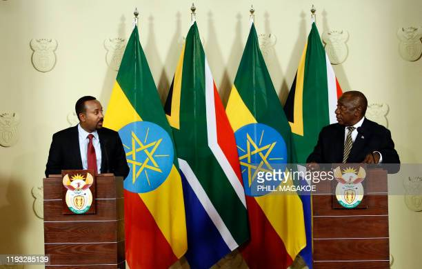 South African President Cyril Ramaphosa and Prime Minister of Ethiopia Abiy Ahmed Ali hold a press conference at the Union Buildings in Pretoria on...