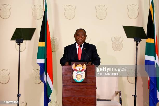 South African President Cyril Ramaphosa announces the composition of the national executive at the Union Buildings on May 29 2019 in Pretoria South...