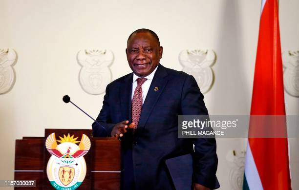 South African President Cyril Ramaphosa arrives for a press conference at The Union Buildings on July 21, 2019 in Pretoria, South Africa. - Ramaphosa...