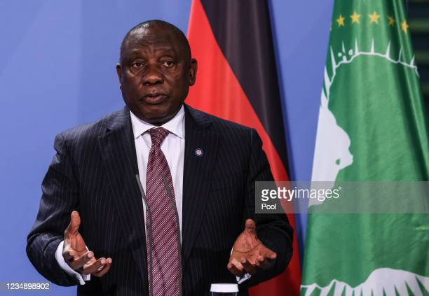 South African President Cyril Ramaphosa attends a press conference after the G20 Compact with Africa conference at the Chancellery in Berlin on...