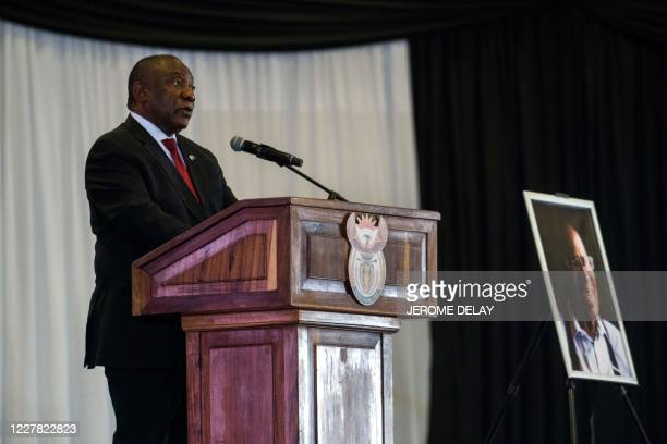 South African President Cyril Ramaphosa delivers the eulogy during the funeral service of South African anti-apartheid figure Andrew Mlangeni in...
