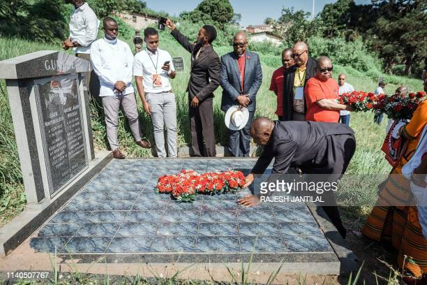 South African President Cyril Ramaphosa lays a wreath on the grave of anti apartheid stalwart and African National Congress leader Archie Gumede...