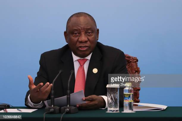 South African President Cyril Ramaphosa speaks during the during 2018 Beijing Summit Of The Forum On China-Africa Cooperation - Joint Press...