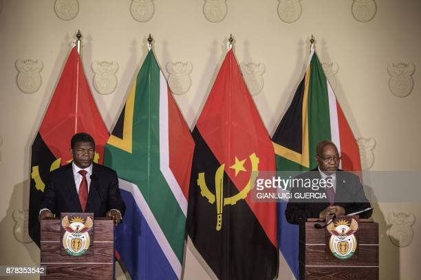 South African President Jacob Zuma and Angolan President Joao Lourenco give a press conference on November 24 2017 in Pretoria South Africa / AFP...