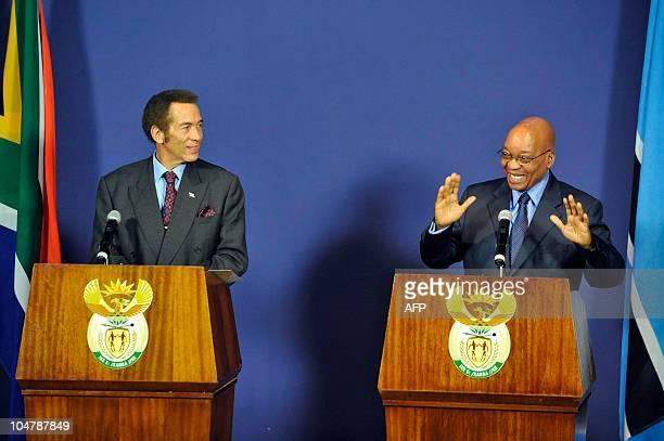 South African president Jacob Zuma and Botswana president Lieutenant General Seretse Khama Ian Khama give a press conference on October 5 2010 during...