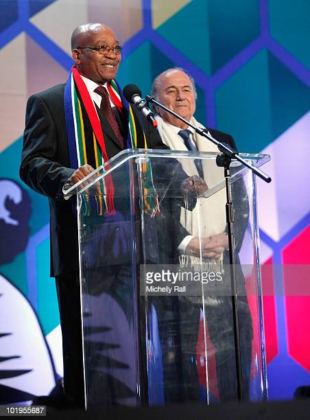 South African President Jacob Zuma and FIFA President Sepp Blatter on stage during the FIFA World Cup Kick-off Celebration Concert at the Orlando...