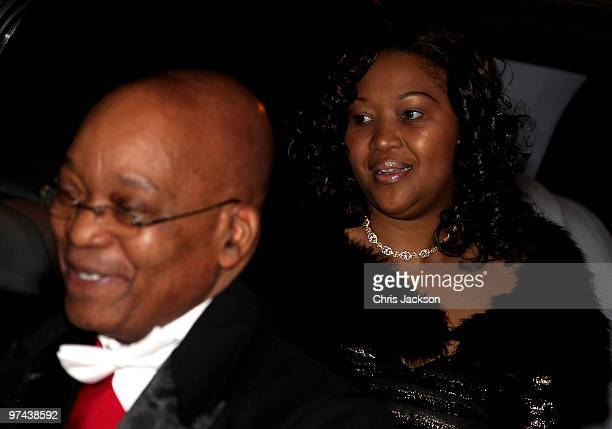 South African President Jacob Zuma and his wife Thobeka Madiba Zuma arrives at the Guildhall for a reception and banquet on March 4 2010 in London...