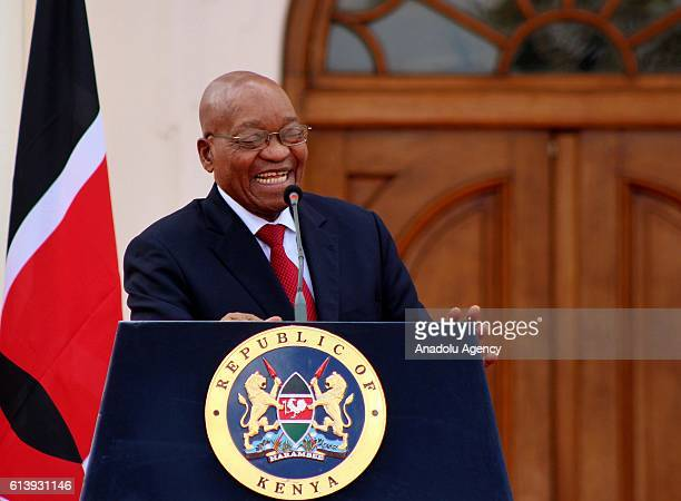 South African President Jacob Zuma and Kenyan President Uhuru Kenyatta hold a joint press conference after their meeting at the Presidential Palace...