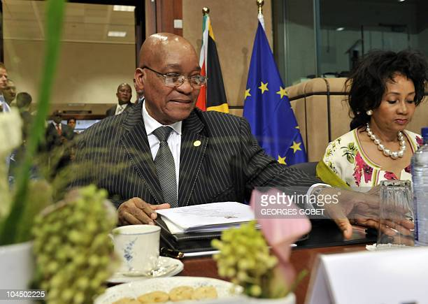 South African President Jacob Zuma and South African Defense Minister Lindiwe Sisulu wait on September 28 2010 for the start of an EUSouth Africa...