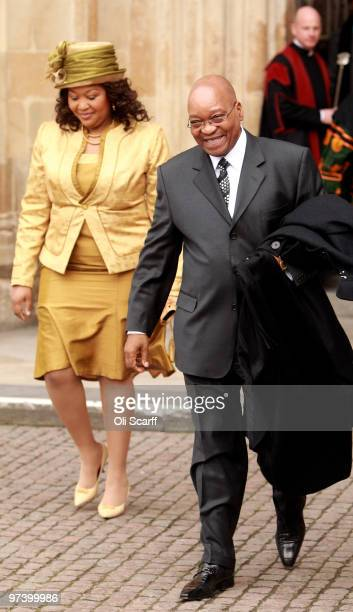 South African President Jacob Zuma and Thobeka Madiba Zuma, his newest of three wives, leave Westminster Abbey on March 3, 2010 in London, England....