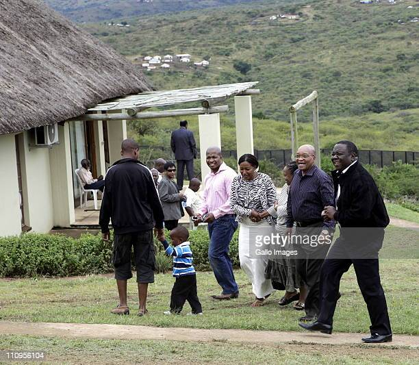 South African President Jacob Zuma and Zimbabwean Prime Minister Morgan Tsvangirai at the President's home in Nkandla KwaZuluNatal South Africa on 26...