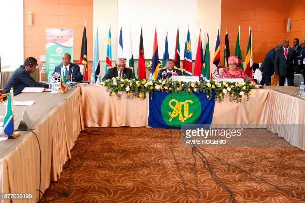 South African President Jacob Zuma Angolan President Joao Lourenco and Zambian President Edgar Lungu attend a Southern African Development Community...