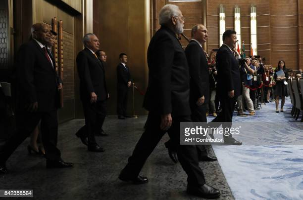 South African President Jacob Zuma Brazilian President Michel Temer Indian Prime Minister Narendra Modi Russian President Vladimir Putin and Chinese...