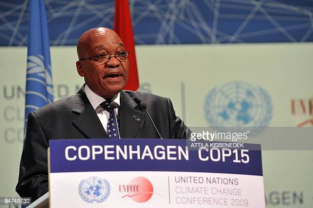 South African President Jacob Zuma delivers a speech during a plenary session at the Bella center of Copenhagen on December 18 2009 on the 12th day...