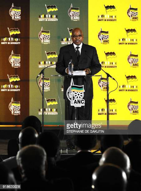 South African President Jacob Zuma delivers a speech in the runup to the 100th anniversary celebrations for his ruling African National Congress on...