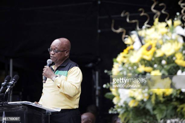 South African President Jacob Zuma delivers a speech on January 11 2014 at the Mbombela Stadium in Nelspruit during the launch of the ruling ANC...