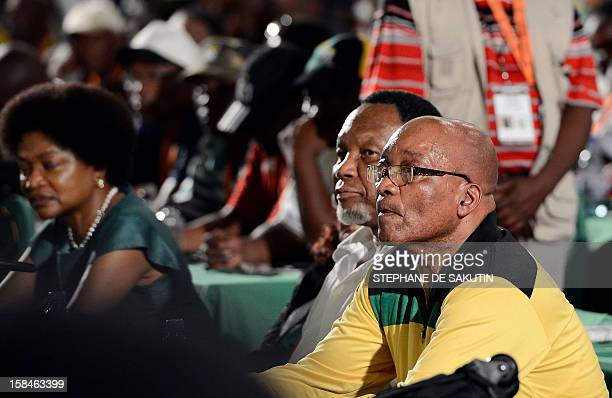 South African President Jacob Zuma flanked by his deputy president Kgalema Motlanthe attend the 2nd day of the 53rd National Conference of the...