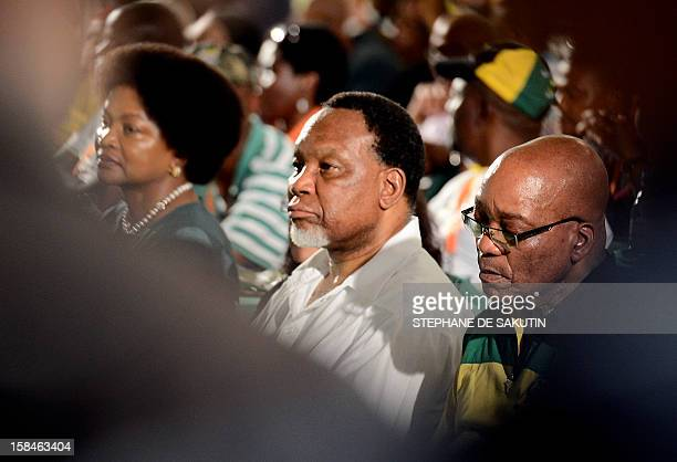 South African President Jacob Zuma flanked by his deputy president Kgalema Motlanthe attends the 2nd day of the 53 rd National Conference of the...