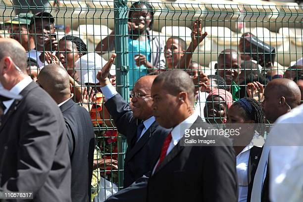 South African President Jacob Zuma greets the crowds at the Human Rights Day celebrations at Athlone Stadium on 21 March 2011in Cape Town South...