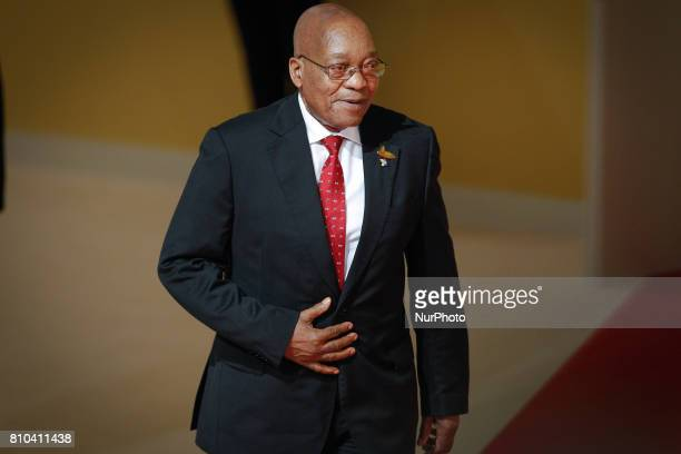 South African President Jacob Zuma is sen arriving at the welcoming ceremony for guest countries of the G20 summit in Hamburg on 7 July 2017