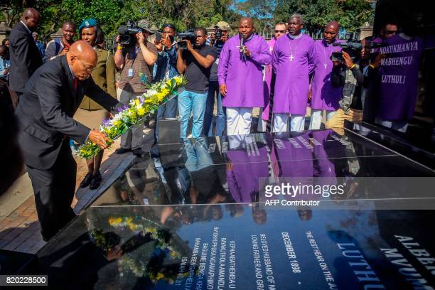 South African President Jacob Zuma lays a wreath on the grave of late Chief Albert Luthuli during a commemoration under theme of unity in action...