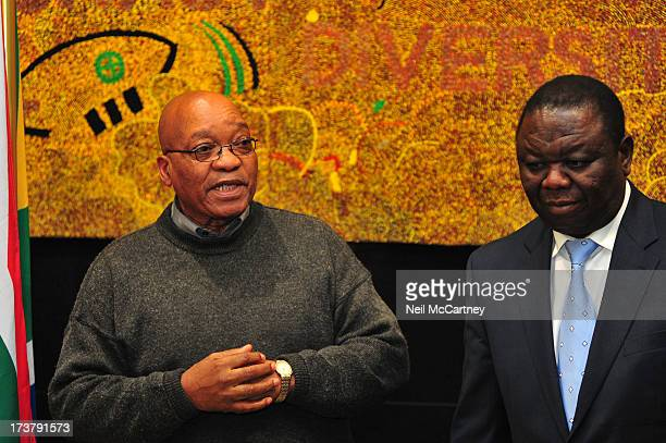 South African President Jacob Zuma met with Zimbabwean Prime Minister Morgan Tsvangirai at Luthuli House in Johannesburg, 3 August 2009