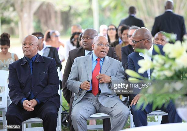 South African President Jacob Zuma Minister of Justice and Constitutional Development Jeff Radebe and Minister of Police Nathi Mthethwa at National...