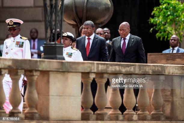 South African President Jacob Zuma receives Angolan President Joao Lourenco during the Angolan President state visit on November 24 2017 in Pretoria...