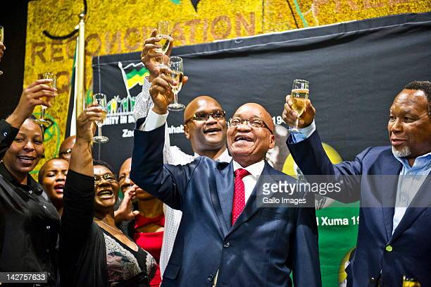 South African President Jacob Zuma toasts his 70th Birthday at Luthuli House on April 12, 2012 in Johannesburg, South Africa. Kgalema Motlanthe,...