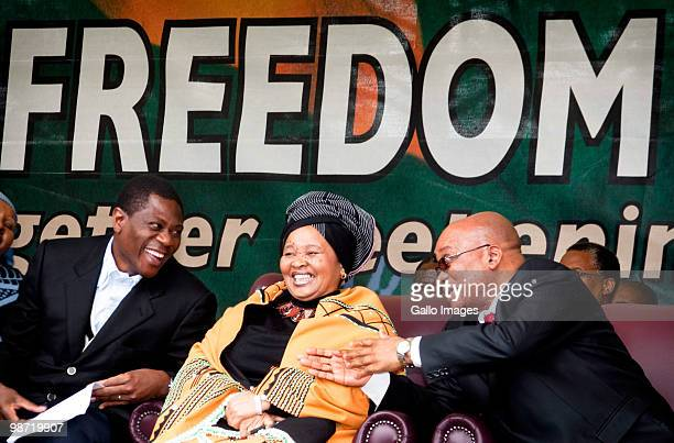 South African president Jacob Zuma wife Thobeka Madiba Zuma and South African Minister of Arts and Culture Paul Mashatile attend Freedom Day...