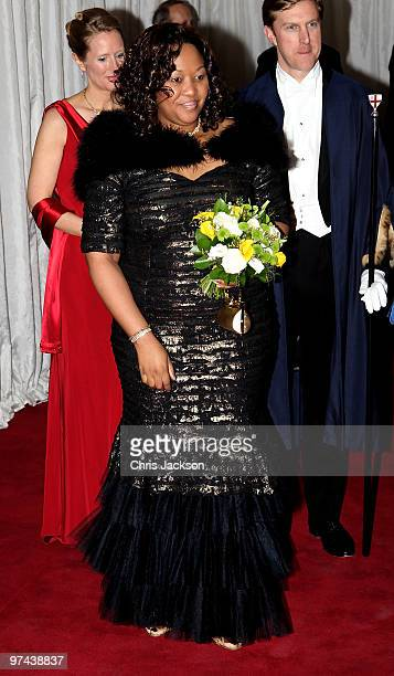 South African President Jacob Zuma's wife Thobeka Madiba Zuma attends a banquet at the Guildhall on March 4 2010 in London England President Zuma and...