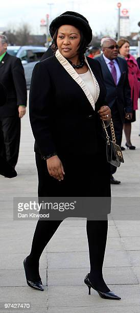 South African President Jacob Zumas wife Thobeka Madiba Zuma visits a Sainsburys Supermarket in North Greenwich on March 4 2010 in London England...