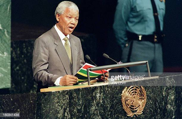 South African President Nelson Mandela addresses the UN General Assembly in New York 03 October 1994