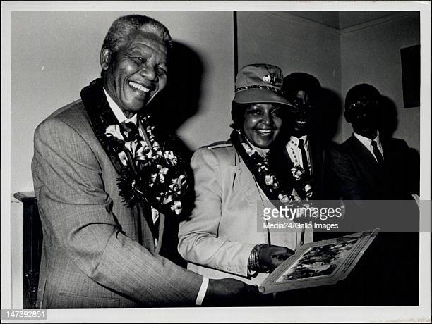 South African president Nelson Mandela and his wife Winnie Mandela