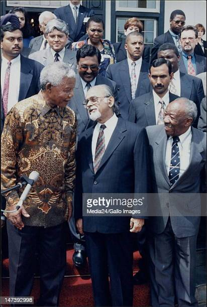 South African president Nelson Mandela, Indian Prime Minister Inder Kumal Gujral and South African Minister of International Relations Alfred Nzo.