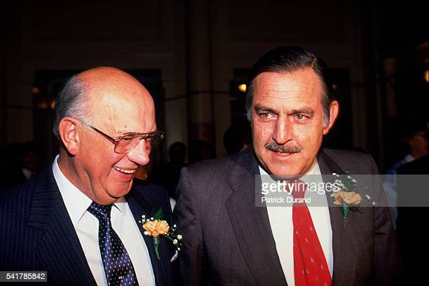South African President Pieter Botha and Foreign Affairs Minister Pik Botha attend the final National Party meeting