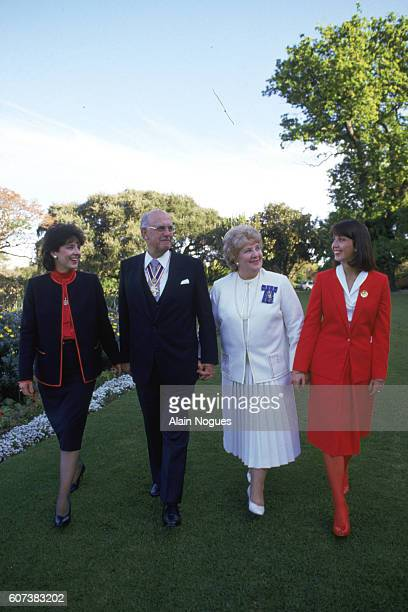 South African President Pieter Botha with his wife and two daughters