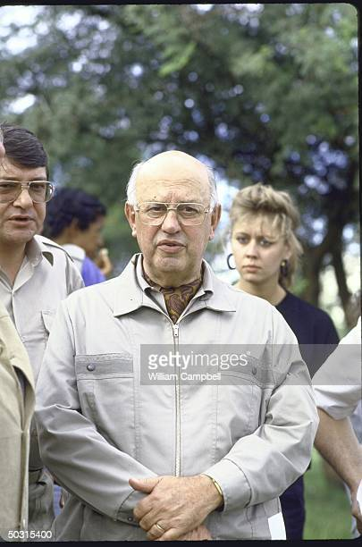 South African President Pieter W Botha visting the flooded areas along Orange River