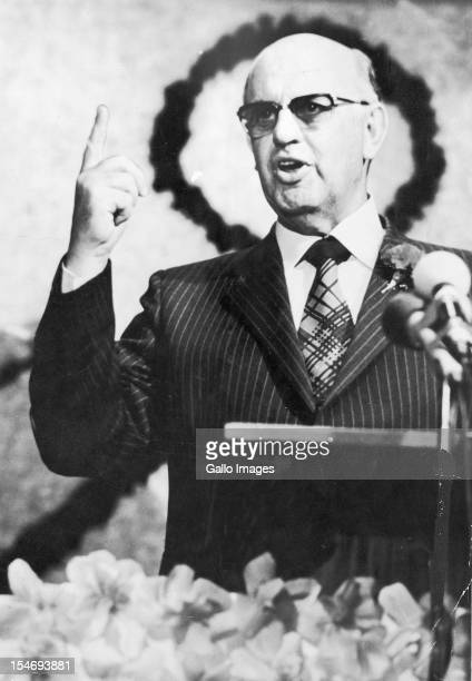 South African President PW Botha giving a speech Johannesburg South Africa 4th August 1985