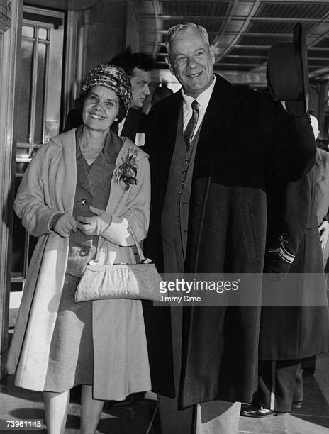 South African Prime Minister Hendrik Verwoerd and his wife Betsie arrive at the Dorchester Hotel London 4th March 1961 Verwoerd is in Britain for a...