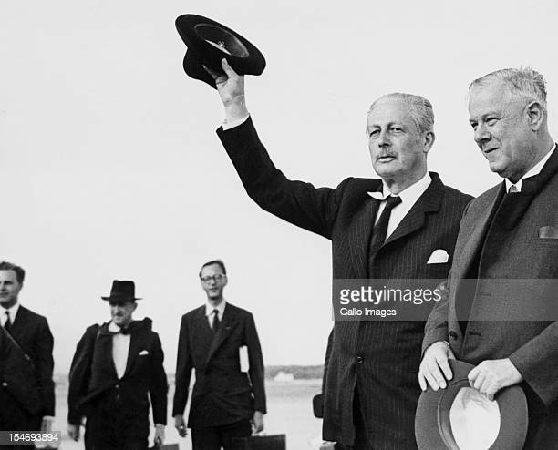 South African Prime Minister Hendrik Verwoerd with British Prime Minister Harold MacMillan Johannesburg South Africa February 1960