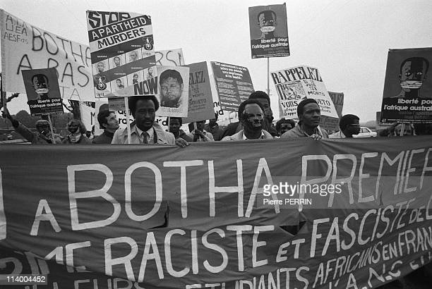 South African Prime Minister PW Botha In Longueval France On June 07 1984demonstration against PW Botha