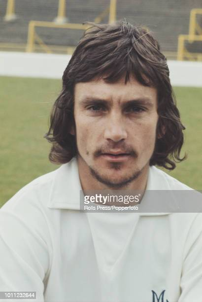 South African professional footballer and forward with Millwall FC Derek Smethurst posed on the pitch at The Den stadium in London in 1972