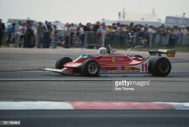South African racing driver Jody Scheckter drives the Scuderia Ferrari Ferrari 312 T4 Ferrari Flat12 to finish in 5th place in the 1979 British Grand...