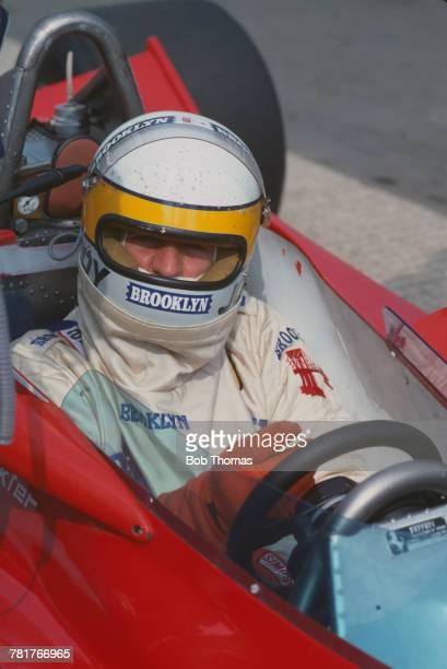South African racing driver Jody Scheckter pictured in the driver's seat of the Scuderia Ferrari Ferrari 312 T4 Ferrari Flat12 prior to finishing in...