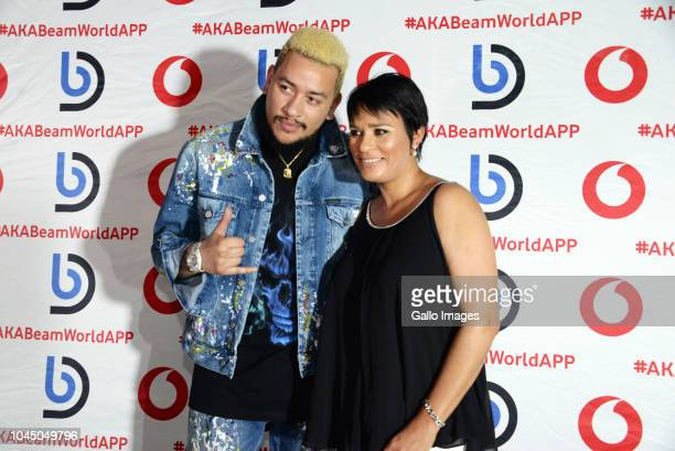 South African rapper AKA and his mother during the exclusive launch of AKA Beam World App powered by Vodacom at the Pivot Montecasino on Johannesburg...