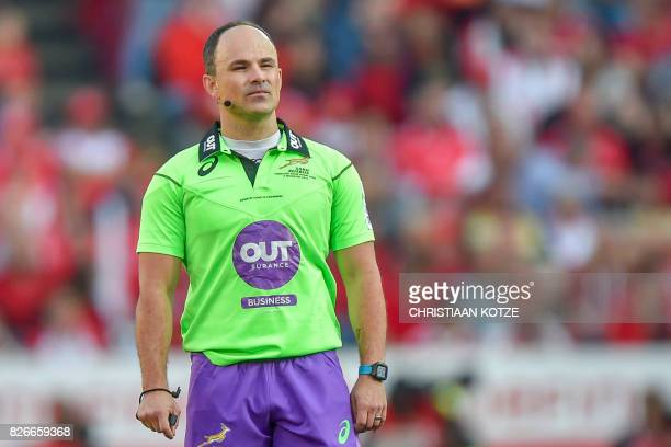 South African referee Jaco Peyper looks on during the Super XV rugby final match between Lions and Crusaders at the Ellis Park Rugby stadium on...