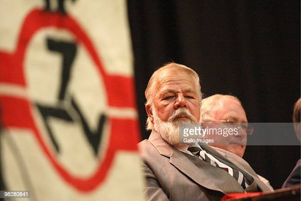 South African right wing extremist and leader of the Afrikaner movement the AWB Eugene Terre'Blanche addressing AWB members on April 22 2008 in South...