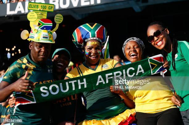 South African Rugby fans pose with a banner in support of the South African Rugby National Team during the 2019 Rugby Union World Cup warm-up test...
