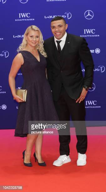 South African rugby player Bryan Habana and his wife Janine Viljoen arrive to the Laureus Sport Awards in Berlin Germany 18 April 2016 The awards...